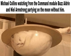Apollo 11 be like: Michael Collins watching from the Command mocdule Buz Aldrin  and Niel Armstrong partying on the moon without him. Apollo 11 be like