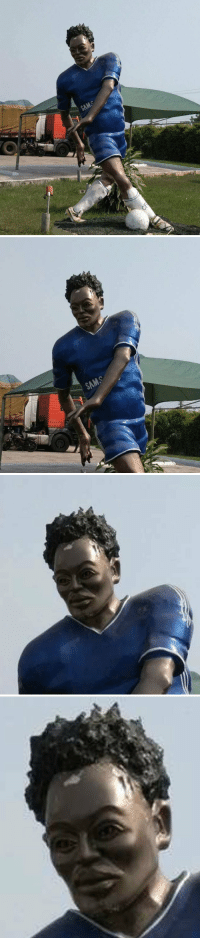 Michael Essien becomes the next footballer to be immortalised into a dodgy statue. 😂🤣 https://t.co/KWs7YiTaHj: Michael Essien becomes the next footballer to be immortalised into a dodgy statue. 😂🤣 https://t.co/KWs7YiTaHj
