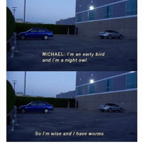 Memes, Michael, and 🤖: MICHAEL: I'm an early bird  and I'm a night owl.  So I'm wise and I have worms 🦉 🐦
