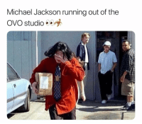Funny, Lol, and Michael Jackson: Michael Jackson running out of the  OVO studio ele Lol 👉🏽(via: levi_har-Twitter)