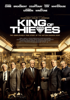 """u/planet-comic makes a brief cameo in king of thieves, as he is a thief also: MICHAEL  JIM  TOM  CHARLIE  PAUL  CAINE BROADBENT COURTENAY COX WHITEHOUSE  WITH  AND  MICHAEL  RAY  GAMBON WINSTONE  FROM THE PRODUCERS OF  DARKEST HOUR & LEGEND  KINGOF  THIEVES  THE UNBELIEVABLE TRUE STORY OF THE HATTON GARDEN HEIST  STUDIOCANAL PESANE WORKING TITLE 0OICTON MICHAEL CAINE JIM BROADBENT KING OF THIEVES"""" TOM COURTENAY CHARLIE COX PAUL WHITEHOUSE  W: MICHAEL GAMBON AU RAY WINSTONE NINA GOLD E SARAH BRIOGE A SIMON FRASER """"EBENJAMIN WALLFISCH TARA M:DONALO CONSOLATA BOYLE  ome JINX GODREY NICK MOORE """" CHRIS ODDY A DANNY COHEN 8 ALIZA CHASIN DIDIER LUPFER DANNY PERKINS JOE PENHALL  EOCZN woRCNO) m TIM BEVAN ERIC FELLNER MICHELLE WRIGHT ALI JAAFAR AMELIA GRANGER JAMES MARSH --  20ns STUDIOCANAL SAS ALL RIGHTS RESERVED. u/planet-comic makes a brief cameo in king of thieves, as he is a thief also"""