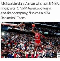 Basketball, Crazy, and Cute: Michael Jordan. A man who has 6 NBA  rings, won 5 MVP Awards, owns a  sneaker company, & owns a NBA  Basketball Team  Slam doubletap to respect one of the greatest of all time 🐐🙌 Who do you have winning it all this year in the NBA? 🤔 Comment below! 👇 - Follow @Sportzmixes For More! 🏀 - crazy lol dubai love cute