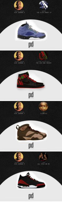 RT @PickandRollAU: 'Air Jordan Signature Shoes Blended With Classic Rap Albums' created by @pvtso Which would you rock? http:-t.co-pAAELAL…: MICHAEL JORDAN  AIR JORDAN 5  EMINEM  THE SLIM SHADY LP   MICHAEL JORDAN  AIR JORDAN 1  A TRIBE CALLED QUEST  THE LOW END THEORY   MICHAEL JORDAN  AIR JORDAN 7  ILL MATIC   MICHAEL JORDAN  AIR JORDAN 3  2PAC  ALL EYEZ ON ME RT @PickandRollAU: 'Air Jordan Signature Shoes Blended With Classic Rap Albums' created by @pvtso Which would you rock? http:-t.co-pAAELAL…