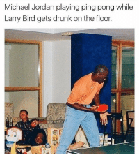 Is Larry Bird drinking beer out of a coconut? | Check out @superlazyrobot for more!: Michael Jordan playing ping pong while  Larry Bird gets drunk on the floor. Is Larry Bird drinking beer out of a coconut? | Check out @superlazyrobot for more!