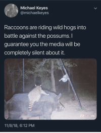 Michael, Wild, and Media: Michael Keyes  @michaelkeyes  Raccoons are riding wild hogs into  battle against the possums.  guarantee you the media will be  completely silent about it.  14  11/8/18, 6:12 PM