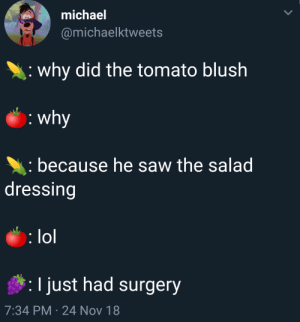Dank, Lol, and Memes: michael  @michaelktweets  why did the tomato blush  because he saw the salad  dressing  lol  I just had surgery  7:34 PM 24 Nov 18 I dont understand where this came from. by GriffonsChainsaw MORE MEMES