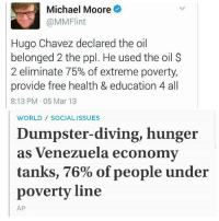 (GC): Michael Moore  (a MMFlint  Hugo Chavez declared the oil  belonged 2 the ppl. He used the oil  2 eliminate 75% of extreme poverty,  provide free health & education 4all  8:13 PM 05 Mar 13  WORLD SOCIAL ISSUES  Dumpster-diving, hunger  as Venezuela economy  tanks, 76% of people under  poverty line  AP (GC)