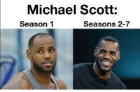 Memes, Michael Scott, and Michael: Michael Scott:  Season 1  Seasons 2-7 most accurate tweet ever https://t.co/o4L6lA2KFk