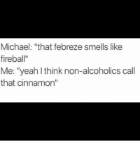 "Being an Adult, Club, and Drunk: Michael: ""that febreze smells like  fireball""  Me: ""yeah I think non-alcoholics call  that cinnamon"" Have a safe Friday night guys don't drink and drive and be sure to wrap your tool. fabric febreeze adulting cinnamon fireball being an adult grownuplife bar drunk drink barbaric bartender Friday fire club fridaynight"