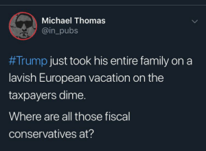 Family, Michael, and Trump: Michael Thomas  @in_pubs  #Trump just took his entire family on a  lavish European vacation on the  taxpayers dime.  Where are all those fiscal  conservatives at? Where are you hiding?