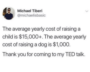 Sorry kid: Michael Tiberi  @michaelisbasic  The average yearly cost of raising a  child is $15,000+. The average yearly  cost of raising a dog is $1,000.  Thank you for coming to my TED talk. Sorry kid