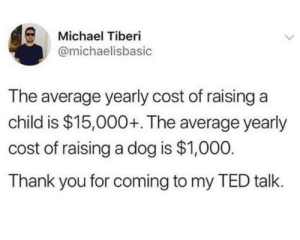 Dank, Ted, and Thank You: Michael Tiberi  @michaelisbasic  The average yearly cost of raisinga  child is $15,000+. The average yearly  cost of raising a dog is $1,000  Thank you for coming to my TED talk.