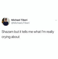 Crying, Shazam, and Michael: Michael Tiberi  @MichaelJTiberi  Shazam but it tells me what I'm really  crying about Innovative!!!!