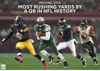 The Human Cheat Code calls it a career.: MICHAEL VICK  MOST RUSHING YARDS BY  A QB IN NFL HISTORY  br The Human Cheat Code calls it a career.