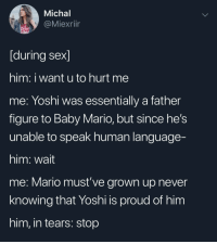 Sex, Mario, and Yoshi: Michal  @Miexrllr  [during sex]  him: i want u to hurt me  me: Yoshi was essentially a father  figure to Baby Mario, but since he's  unable to speak human language-  him: wait  me: Mario must've grown up never  knowing that Yoshi is proud of him  him, in tears: stop It's a me, Mario
