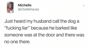 "Fucking, Husband, and Dog: Michelle  @chellehavaz  Just heard my husband call the dog a  ""fucking liar"" because he barked like  someone was at the door and there was  no one there. laughing seems inappropriate"