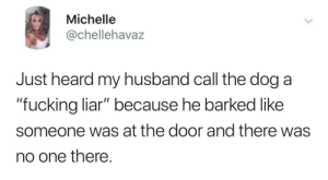 "liar: Michelle  @chellehavaz  Just heard my husband call the dog a  ""fucking liar"" because he barked like  someone was at the door and there was  no one there."