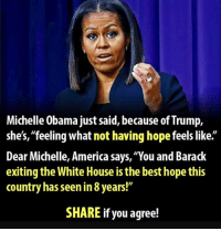 """Anyone else think this is disgraceful?: Michelle Obama just said, because of Trump,  she's, """"feeling what not having hopefeels like.  Dear Michelle, America says, 'You and Barack  exiting the White House isthe best hope this  country has seen in8years!""""  SHARE if you agree! Anyone else think this is disgraceful?"""