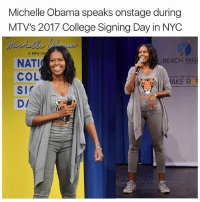 Michelle Obama: Michelle Obama speaks onstage during  MTV's 2017 College Signing Day in NYC  8 MTV PR  REACH HIG  NATI  COL  AKE R  SI  DA