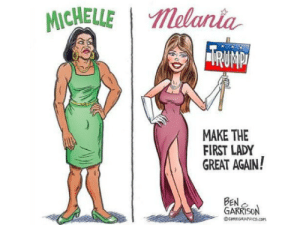 """Racism, Target, and Tumblr: MICHELLEMelania  MAKE THE  FIRST LADY  GREAT AGAIN!  BEN  ARRIS mysharona1987: This is disgusting. How does anyone draw a picture like this? """"It's satire!"""" Um, no. I think it's just blatant and gross racism.  On top of that, does anyone feel a little bit of sexism from this? Like, the first lady can only be great if she looks like how Melania is drawn in this comic? Is a woman only good enough if she meets a gross standard set by racists who support one of the most disgusting people on the planet?"""