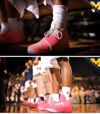 Michigan is wearing pink Jordan Brand shoes to bring awareness to breast cancer and honor all the survivors. (via @umichbball) https://t.co/rj11gU532d: Michigan is wearing pink Jordan Brand shoes to bring awareness to breast cancer and honor all the survivors. (via @umichbball) https://t.co/rj11gU532d