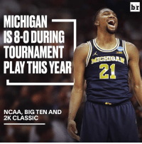 Michigan, Ncaa, and Big Ten: MICHIGAN  IS8-O DURING  TOURNAMENT  PLAY THIS YEAR  NCAA, BIG TEN AND  2K CLASSIC  br The Wolverines level up during tournament play!