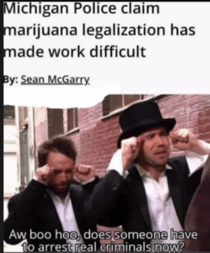 Boo, Police, and Work: Michigan Police claim  marijuana legalization has  made work difficult  By: Sean McGarry  Aw boo hoo, does someone have  to arrest real criminals now? Boo Hoo