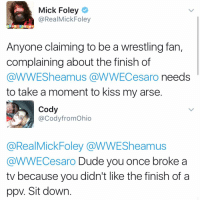 Kiss My Arse: Mick Foley  @RealMick Foley  Anyone claiming to be a wrestling fan,  complaining about the finish of  @WWESheamus a WWECesaro needs  to take a moment to kiss my arse.  Cody  @Cody fromOhio  @RealMick Foley a WWESheamus  @WWECesaro Dude you once broke a  tv because you didn't like the finish of a  ppv. Sit down.
