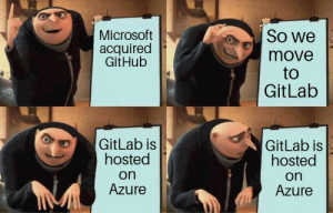Microsoft, Github, and Azure: Microsoft  acquired  GitHub  So we  move  to  GitLab  GitLab is  hosted  on  Azure  GitLab is  hosted  on  Azure F*ck Microsoft they said!
