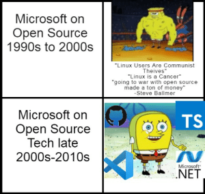 """Oh how the turntables, especially the SQL ones: Microsoft on  Open Source  1990s to 2000s  """"Linux Users Are Communist  Theives""""  """"Linux is a Cancer""""  """"going to war with open source  made a ton of money""""  -Steve Ballmer  Microsoft on  TS  Open Source  Tech late  2000s-2010s  Microsoft  .NET Oh how the turntables, especially the SQL ones"""