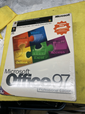 """Family, Microsoft, and Microsoft Office: Microsoft  REQUIRES WINDOWS 95 OR WINDOWS NT WORKSTATION  Designed for  TM  Microsoft Office Family Member  Microsoft  Windows NT  Windows 95  Academic  Price  The Most Popular Suite-Now with the Power of the Web  CD-ROM  Microsoft  Word 97  Coupon  inside for  3.5"""" disks*  Not for use in a  commercial environment  Microsoft  POwerPoint 97  ie,  hine/  233  720  5895  Microsoft  ACcess 97  21842  Microsoft  Excel97  Microsoft  Outlook 97  Microsoft  Cffice 97  Professional Edition  MMX  TM Old school but NEW"""