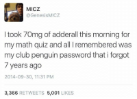 Club, Math, and Penguin: MICZ  @GenesisMICZ  I took 70mg of adderall this morning for  my math quiz and all I remembered was  my club penguin password that i forgot  7 years ago  2014-09-30, 11:31 PM  3,366 RETWEETS 5,001 LIKES Me irl