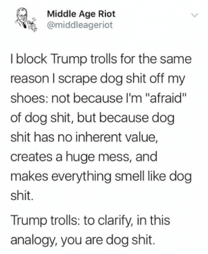 "Memes, Riot, and Shit: Middle Age Riot  @middleageriot  I block Trump trolls for the same  reason I scrape dog shit off my  shoes: not because I'm ""afraid""  of dog shit, but because dog  shit has no inherent value,  creates a huge mess, and  makes everything smell like dog  shit.  Trump trolls: to clarify, in this  analogy, you are dog shit."