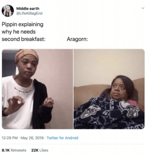 "23 ""Me Explaining"" Memes That Are Kinda Intense But Really Funny: Middle earth  @LifeAtBagEnd  Pippin explaining  why he needs  Aragorn:  second breakfast:  12:29 PM May 26, 2019 Twitter for Android  22K Likes  8.1K Retweets  MB 23 ""Me Explaining"" Memes That Are Kinda Intense But Really Funny"