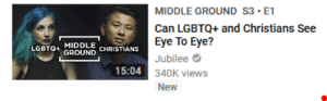 God, Lgbt, and Tumblr: MIDDLE GROUND S3 E1  Can LGBTQ+ and Christians See  Eye To Eye?  Jubilee  340K views  New  LGBTQ+ MIDDLE  GROUND CHRISTIANS  15:04 mysticismmess:  reclaiming-god:  i think 2018 should be the year we stop pretending LGBTQ+ christians don't exist and acting like they're two totally separate groups that never overlap, ever  ☝️☝️☝️ This is such harmful erasure. Stop excluding LGBT+ Christians from the discourse! You're not being progressive, you're just perpetuating the problem. ☝️☝️☝️
