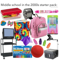 School, Starter Pack, and 2000s: Middle school in the 2000s starter pack:  @elitedaily  MMT  GELLYROLIL  Stardust  0.5  1.0  AP  20072  12Color Set  SANFORD  2007  MR.SKETCH  Each Color Has  a Differant  FRAGRANCE  SCENTED  MARKERS  e. 12 Color Set Nontoxic The TV 😭💯 https://t.co/zQ2m40PerV