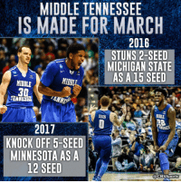 Middle Tennessee is becoming a March Madness staple.: MIDDLE TENNESSEE  IS MADE FOR MARCH  2016  STUNS 2-SEED  MICHIGAN STATE  AS A 15 SEED  MIDDLE  MIDDLE  30  MENNES  DIXON  2017  NESSEE  KNOCK OFF 5-SEED  MINNESOTA AS A  12 SEED  @CBS Sports Middle Tennessee is becoming a March Madness staple.