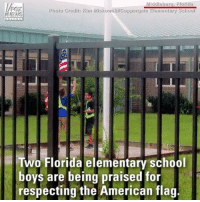 Memes, News, and School: Middleburs, Florida  For  NEWS  Photo Crgdit: Kim Miskowski/Copporgate Elementary School  Two Florida elementary school  boys are being praised for  respecting the American flag PARENTING GONE RIGHT! 👌🏻🇺🇸