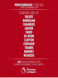 TEAM NEWS | Here's how Boro will line up to face Chelsea this afternoon.: MIDDLESBROUGH  V CHELSEA  SUNDAY 20 NOVEMBER, 4PM  STARTING LINE-UP  VALDES  BARRAGAN  CHAMBERS  GIBSON  FABIO  DE ROON  FORSHAW  TRAORE  RAMIREZ  NEGREDO  SUBS  GUZAN, BERNARDO, NSUE  LEADBITTER, DOWNING, FISCHER, RHODES  Premier  League TEAM NEWS | Here's how Boro will line up to face Chelsea this afternoon.