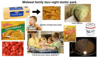 "Taco Night: Midwest family taco night starter pack  20  120  greasy orange taco juice  rusty lettuce  TACO SHELLS  CACO  auste  the navort  oC  ""come put your tacos together!"" Taco Night"