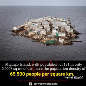 Memes, Weird, and Square: Migingo Island, with population of 131 in only  0.0008 sq mi of dirt have the population density of  65,500 people per square km.  Weird World  @ weirdworldinsta