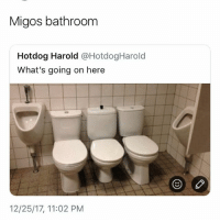 Funny, Migos, and Boys: Migos bathroom  Hotdog Harold @HotdogHarold  What's going on here  12/25/17, 11:02 PM A bathroom for the boys • 👉Follow me @no_chillbruh for more