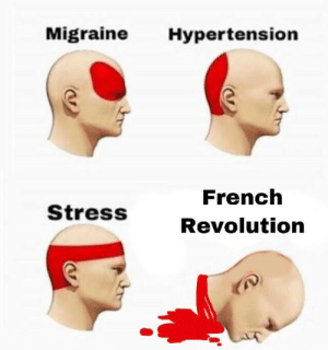 types of headache: Migraine Hypertension  French  Revolution  StressS types of headache
