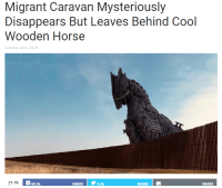 Cool, Horse, and Irl: Migrant Caravan Mysteriously  Disappears But Leaves Behind Cool  Wooden Horse  October 24th, 2018  7.7k  68.5k  SHARE   У  9.2k  SHARE  SHARE me irl