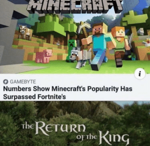 We're back boys by MorphJB MORE MEMES: MIHERAE  i  GAMEBYTE  Numbers Show Minecraft's Popularity Has  Surpassed Fortnite's  the RETURN  OF the King We're back boys by MorphJB MORE MEMES