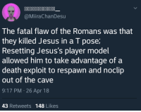 Jesus, Death, and Irl: @MiiraChanDesu  The fatal flaw of the Romans was that  they killed Jesus in a T pose  Resetting Jesus's player model  allowed him to take advantage of a  death exploit to respawn and noclip  out of the cave  9:17 PM 26 Apr 18  43 Retweets 148 Likes Me_irl