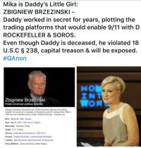 9/11, Children, and Church: Mika is Daddy's Little Girl:  ZBIGNIEW BRZEZINSKI  Daddy worked in secret for years, plotting the  trading platforms that would enable 9/11 with D  ROCKEFELLER & SOROS  Even though Daddy is deceased, he violated 18  US.C § 238, capital treason & will be exposed.  #QAnon  INT  Zbigniew Brzezinski  Polish-American political scientist  bigniew Kazimierz rzezinskd was a Polish-American diplomat and political  centist He served as a counselor to President Lymdon B Johnson from 1566 to  568 and was Presient Jimmy Cater's National Security wipedia  Bon March 28, 1928 Warsaw  Died May 26 2017, Falls Church Vi  Nationality Amerien Polish  Height 511 (1.80m  Spouse Emlle Benes Brzezinsksm 1961-207  Pareats Tadeuse Brzezinski, Lesnia Roman Brzezika  Children Mka rak Mark Bcecinski lan Bi  Party afliation Denocrafic Party (Usited States