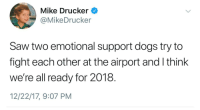Meirl: Mike Drucker  @MikeDrucker  Saw two emotional support dogs try to  fight each other at the airport and I think  we're all ready for 2018.  12/22/17, 9:07 PM Meirl