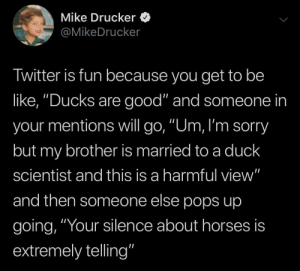 "Be Like, Horses, and Sorry: Mike Drucker  @MikeDrucker  Twitter is fun because you get to be  like, ""Ducks are good"" and someone in  your mentions will go, ""Um, I'm sorry  but my brother is married to a duck  scientist and this is a harmful view""  and then someone else pops up  going, ""Your silence about horses is  extremely telling"" Ducks are good"