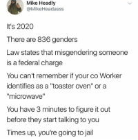 """Jail, Figure It Out, and Trendy: Mike Headly  @MikeHeadasss  It's 2020  There are 836 genders  Law states that misgendering someone  is a federal charge  You can't remember if your co Worker  identifies as a """"toaster oven"""" or a  """"microwave""""  You have 3 minutes to figure it out  before they start talking to you  Times up, you're going to jail @caitlynjenner uglaaah"""